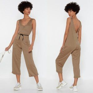 NWT nasty gal sweat utility jumpsuit camel
